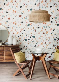 Looking for the perfect accent wall? We've got you covered. This mid century modern print will bring a trendy twist to any wall in your home. Between the boldly shaped specks and the variety of colours, our Terrazzo print will steal attention and bring a new funky element to your space. Accent Wallpaper, Office Wallpaper, Wall Wallpaper, Kitchen Wallpaper Accent Wall, Kitchen Accent Walls, Modern Kitchen Wallpaper Ideas, Modern Kitchen Wall Decor, Farmhouse Wallpaper, Funky Wallpaper