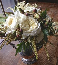 Patience Garden Roses, Pieris Japonica & Acorns! Rustic White Wedding