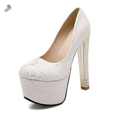 VogueZone009 Women's Pull-on PU Round Closed Toe High-Heels Solid Pumps-Shoes, White, 38 - Voguezone009 pumps for women (*Amazon Partner-Link)