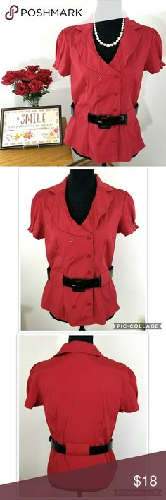 Antilia Femme Stretch Red Double Breasted Blouse Antilia Femme Stretch Red Double Breasted Blouse with Black Belt included. Beautiful red blouse with puffy sleeves and black belt included. Can be worn with any other belt. Has very tiny hole on the lower neckline (from the pin) shown in the last photo but not noticeable when buttoned and worn. Otherwise in Great pre-owned Condition.  No rips. No staons. Smoke-free home.Feel free to ask. Open for reasonable offers.  Approx. Laid flat…