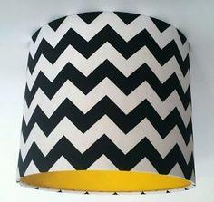Black & White Chevron Fabric and Yellow Vinyl Lampshade Box Room Bedroom Ideas, Little Boy Bedroom Ideas, Nursery Ideas, Yellow Hallway, Grey Yellow, Blue And White, Black White Bedrooms, Yellow Nursery, White Lamp Shade