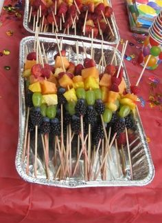 Rainbow fruit kabobs! Perfect for Circus themed birthday party's. And who doesn't love healthy kid food at birthday parties as an alternative to the sweets!