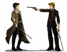 Dean is a recently marooned pirate Captain of his beloved ship Impala. Castiel is a recently discharged soldier of the Isla de Vida. They get in a sword fight and Dean pulls a gun. Cas ends up rebelling to help Dean find his ship and join him in piracy. http://samkatdiz.tumblr.com/post/53183612322/destiel-au-series-pirates-hq-dean-is-a