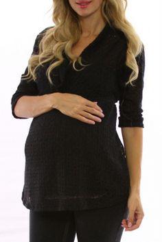 Black Knit Maternity Top W/Tank
