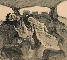 happy honeymoon, 60 X 54 cm, Muk on Korean paper, 2007  #art #artwork #painting #drawing