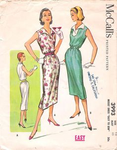 love the neckline Vintage 1950's Sleeveless Dress with Side Kick Pleat, McCall's Sewing Pattern 3993