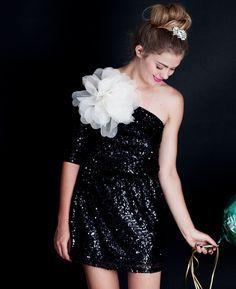 sparkly black dress: bridesmaids