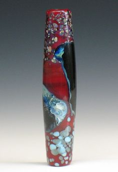SJC Lampwork 48 x 10 mm. handmade silver glass tapered tube bead ~SRA~ USA~ #SJCLampwork #Lampwork