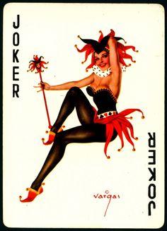 Alberto Vargas - Pin-up Playing Cards - Joker… Joker Playing Card, Joker Card, Rockabilly, Comic Art, Jokers Wild, Vargas Girls, Vintage Playing Cards, Joker And Harley, Harley Quinn