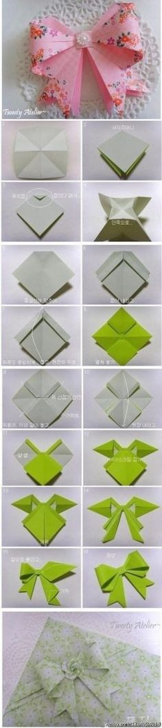 Origami bow. Click on link for video tutorial. Can use wrapping paper and glue onto the gift to make it match! Also try going green and using old magazines or newspaper.