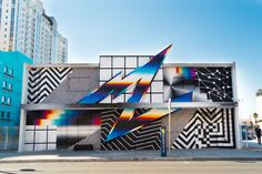 """Mesmerizing street art by Argentinian artist Felipe Pantone. """"His tag 'Pantone' is an evolution of his original name 'Pant' chosen when he was just thirteen,… Glitch Art, Op Art, Life Is Beautiful Festival, Victor Vasarely, Colossal Art, Chrome Colour, Diego Rivera, Spanish Artists, Street Art Graffiti"""