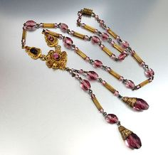 Vintage Enamel Czech Art Deco Necklace Long Purple Czech Glass Bead Art Deco Jewelry