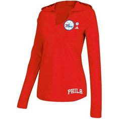 3929df2dd90 adidas Philadelphia 76ers Ladies Ligature Premium Long Sleeve Hoodie T-Shirt  - Red Clothing Logo