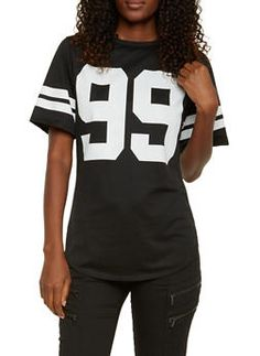 Varsity Top with Hustle 99 Graphic - 3033067330201