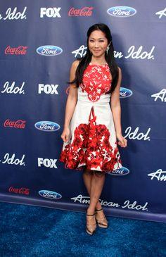 Julie Chang wearing Tibi Dress/Lavin Shoes