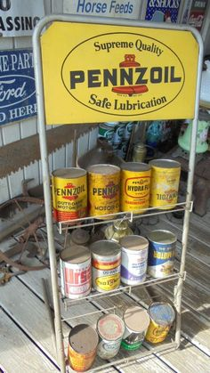 Vintage Original Pennzoil Sign With 12 Can Motor Oil Gas Station Display Rack