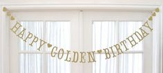 Antique Gold HAPPY GOLDEN BIRTHDAY Banner