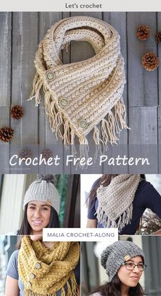 Crochet Stitches Patterns The MALIA Buttoned Cowl Crochet Free Pattern Crochet Cowl Free Pattern, Crochet Stitches Patterns, Crochet Designs, Easy Crochet, Knitting Patterns, Cowl Patterns, Knitting Tutorials, Knit Stitches, Crochet Granny