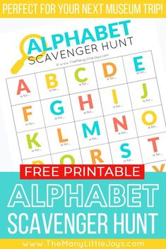 Make your next trip to a museum an exciting challenge with this free printable alphabet scavenger hunt. Whether it's your first visit or you this activity is a great way to liven up learning time. Craft Activities For Kids, Learning Activities, Preschool Activities, Preschool Learning, Kids Crafts, Alphabet Crafts, Printable Alphabet, Preschool Alphabet, Alphabet Activities