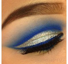 Blue and gold eye shadow! It looks so cool