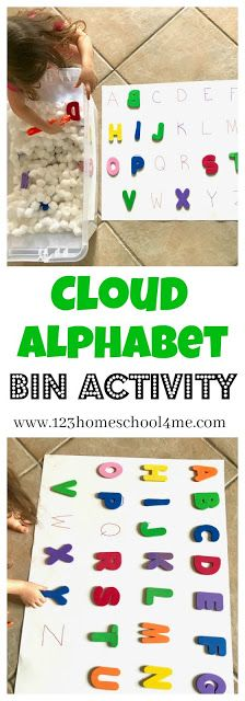 Cloud Alphabet Letters Bin Activity – A Fun Fine Motor & Letter Recognition Activity. This is such a fun abc letter activity to help toddler, preschool, prek, kindergarten age kids to learn to recognize upper and or lowercase letters.