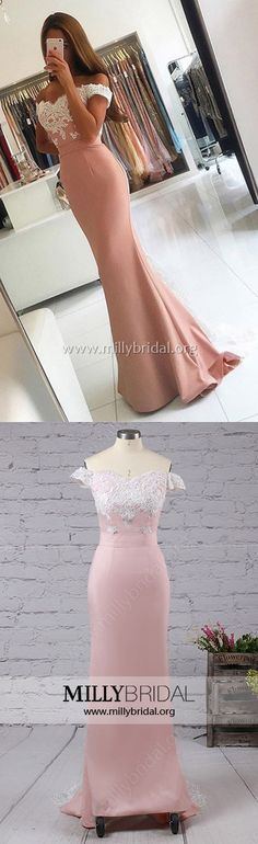 Pink Prom Dresses,Lace Prom Dresses Mermaid,Off-the-shoulder Prom Dresses Tulle,Silk-like Satin Prom Dresses Backless