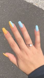 The Most Beautiful Coffin Acrylic nails Design for This Season - Summer Acrylic Nails Nail Art Designs, Classy Nail Designs, Acrylic Nail Designs, Nails Design, Bright Summer Acrylic Nails, Simple Acrylic Nails, Metallic Nails, Gold Glitter, Thanksgiving Nail Designs