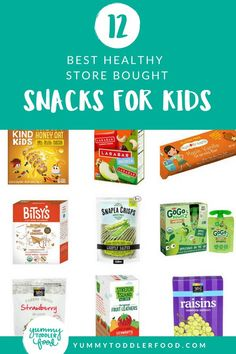 It can be SO daunting to buy healthy snacks for kidsthere are just SO many darn options and often the ingredients lists and labels are hard to understand. This list of the best healthy snacks for kids takes the guesswork out of it for you! Healthy Store Bought Snacks, Healthy Snacks To Buy, Healthy Toddler Snacks, Toddler Lunches, Health Snacks, Healthy Kids, Clean Eating Snacks, Toddler Food, Healthy Living