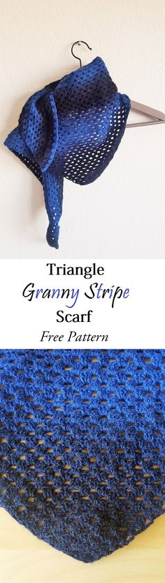 Lovely triangle granny stripe scarf. Free pattern from SaraFromWonderland.