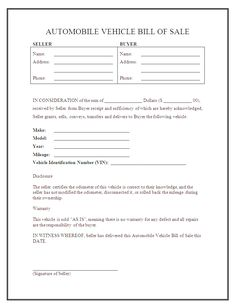 free vehicle bill of sale car bill of sale template legal