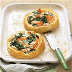 Salmon, spinach and cream cheese tarts recipe. With only four ingredients and ready in about half an hour, this is an easy midweek supper that's smart enough for entertaining.