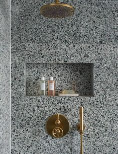 Lovely use of continuity Brooklyn shower set in Tarnished Brass are featured in a dramatic terrazzo shower by London Interior Designer: Heirloom Studio Bathroom Trends, Bathroom Interior, White Bathroom, Bathroom Ideas, Bathroom Goals, Small Bathroom, Decor Interior Design, Interior Decorating, Interior Colors