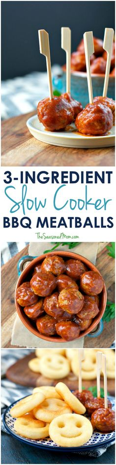Only 5 minutes of prep for these Slow Cooker Barbecue Meatballs -- the perfect easy appetizer, party snack, or Crock Pot dinner for busy families! Best Slow Cooker, Crock Pot Slow Cooker, Slow Cooker Recipes, Crockpot Recipes, Cooking Recipes, Meat Appetizers, Easy Appetizer Recipes, Appetizers For Party, Snack Recipes