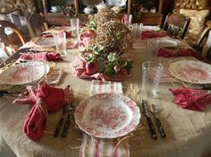 This is actually a fall tablescape, but with a few very minor tweaks could be a beautiful Christmas table as well.