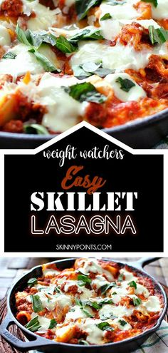 Weight Watchers Lasagna Recipe Freestyle Ideas For 2019 Weight Watchers Lasagna, Weight Watcher Dinners, Weight Watchers Chicken, Iron Skillet Recipes, Cast Iron Recipes, Skillet Dinners, Ww Recipes, Healthy Recipes, Lasagna Recipes