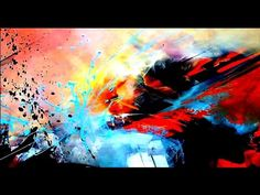 Abstract painting / Acrylics / Water Spray bottle / palette knife / Demonstration - YouTube