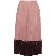 Valentino Silk and Velvet Pleated Skirt (€1.700) ❤ liked on Polyvore featuring skirts, valentino, pink, velvet, midi & long, red midi skirt, long pleated maxi skirt, long skirts, midi skirt and pleated maxi skirt