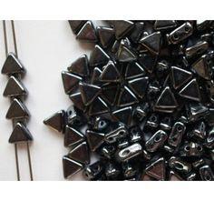 50pcs Khéops® par Puca® 6mm 2-hole Czech Glass Pressed Beads Jet Hematite