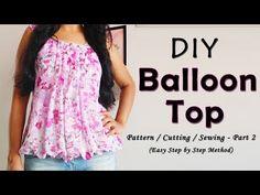 Balloon Top Cutting and Stitching Frock Patterns, Kids Dress Patterns, Designer Blouse Patterns, Sewing Patterns Free, Clothing Patterns, Sewing Tutorials, Pattern Sewing, Sewing Projects, Free Sewing