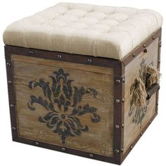 The perfect accent for your living room seating group or master suite ensemble, this elegant button-tufted ottoman showcases a reversible tray top and a hand...