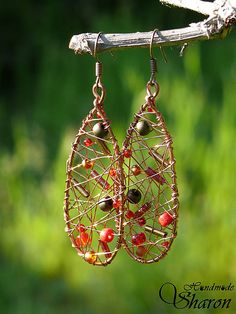 Redhead copper wire wrapped earrings with red seedbeads