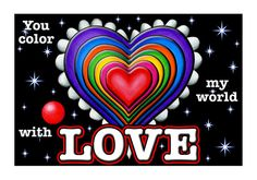 colored hearts | Rainbow Hearts - Color My World - Card Inside