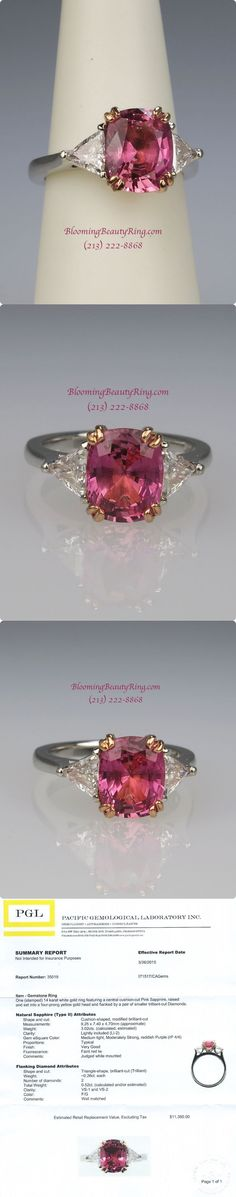 """An absolutely amazing """"Gem Quality"""" 3 carat Pink Sapphire flanked by 2 high quality Trillion cut diamonds.  This ring is a stunning!"""