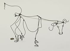 """Cow by Alexander Calder. This piece is made from steel wire and is 6 1/2 x 16 x 4 1/4""""."""