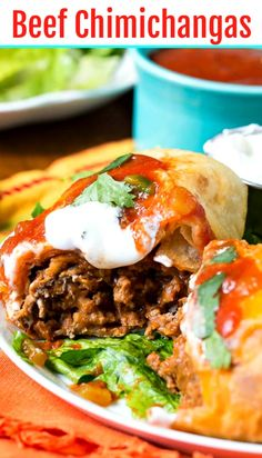 These ground beef Chimichangas are sure to become a family favorite. Filled with a ground beef/refried bean mixture, fried until crispy, and topped with a jalapeno tomato sauce. Spicy Recipes, Mexican Food Recipes, Beef Recipes, Dinner Recipes, Cooking Recipes, Healthy Recipes, Ethnic Recipes, Dinner Ideas, Mexican Tortas Recipe