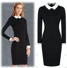 This is a lovely retro inspired pencil dress. Made of 100% polyester, blackdress, has a white collar and white cuffs. The dress is long sleeved, knee length, knee length with a zipper in back.    Available in US sizes 4 - 18.    This item ships within seven (7) days. 📦   Shop this product here: http://spreesy.com/UyleesBoutique/357   Shop all of our products at http://spreesy.com/UyleesBoutique      Pinterest selling powered by Spreesy.com