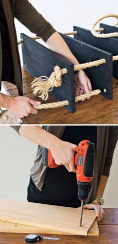 DIY Rope Shelf.