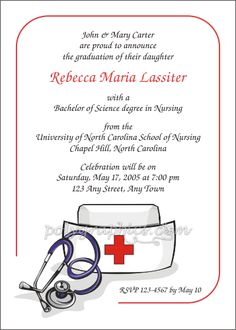 nursing school graduation invitations  graduation announcement, invitation samples