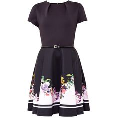 Ted Baker Milleh Lost Gardens Border Skater Dress, Black (55.005 HUF) ❤ liked on Polyvore featuring dresses, long-sleeve skater dresses, long-sleeve floral dresses, long-sleeve midi dresses, floral cocktail dresses and long-sleeve mini dress