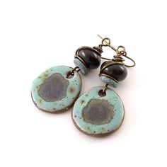 Black and Turquoise Earrings Ceramic Earrings by CinLynnBoutique